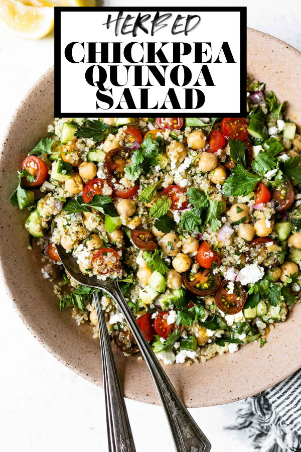 Falafel-ish quinoa salad with graphic text overlay for Pinterest.