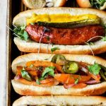 Perfectly Grilled Sausage with graphic text overlay for Pinterest.