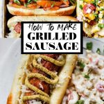 How to Make Perfectly Grilled Sausage with graphic text overlay for Pinterest.