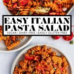 Vegan Italian Pasta Salad with graphic text overlay for Pinterest.