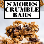 Gooey s'mores bars with graphic text overlay for Pinterest.