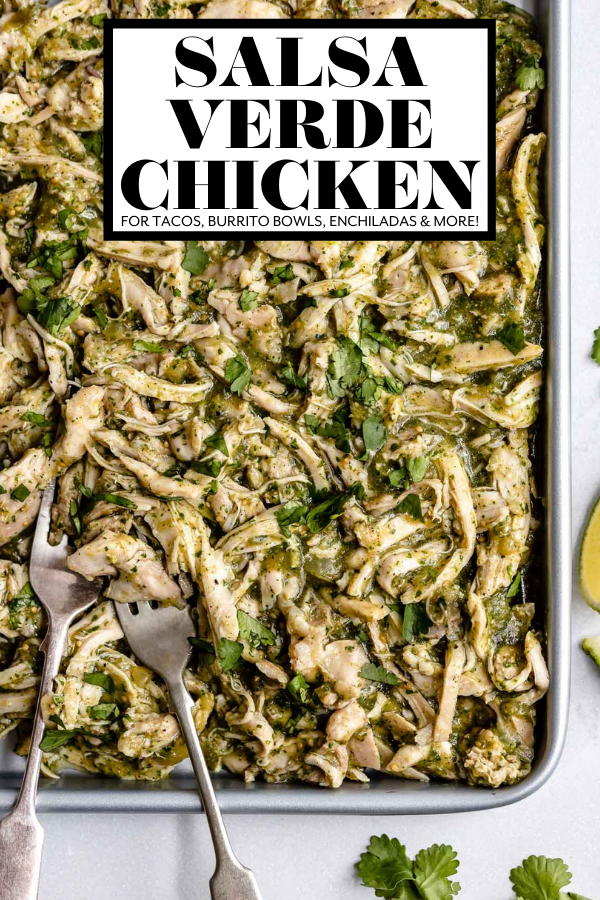 Sheet Pan Salsa Verde Chicken (Pollo Verde) with graphic text overlay for Pinterest.