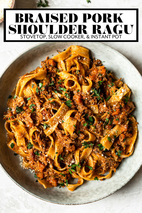 Pork Ragu Pappardelle with graphic text overlay for Pinterest.