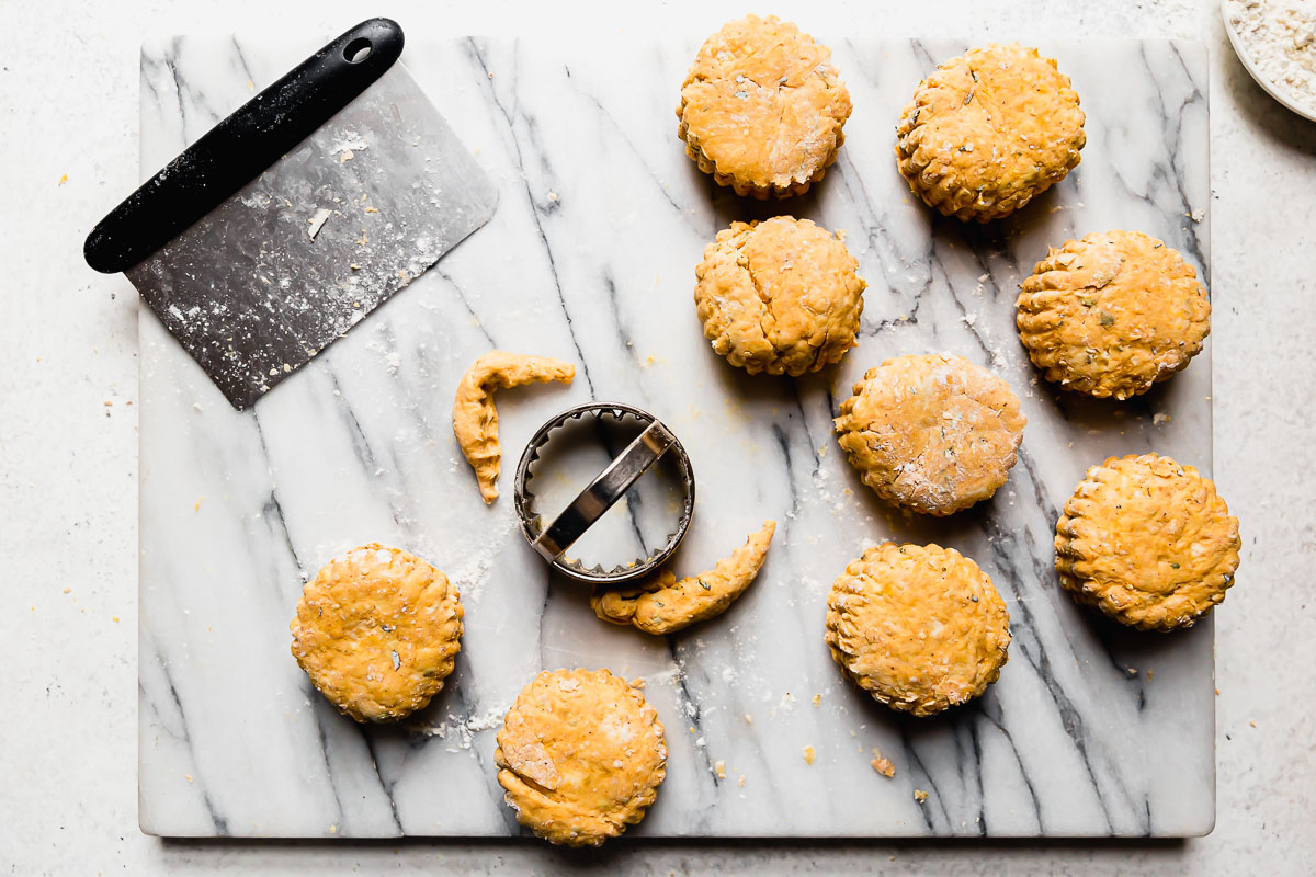 Pumpkin biscuit dough cut into biscuits atop a white marble surface.