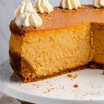 Inside the pumpkin cheesecake, with slices removed from it.