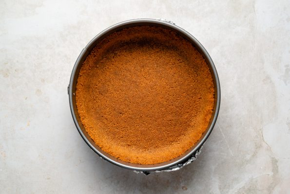 Gingersnap crust for pumpkin cheesecake, formed in a large springform pan.