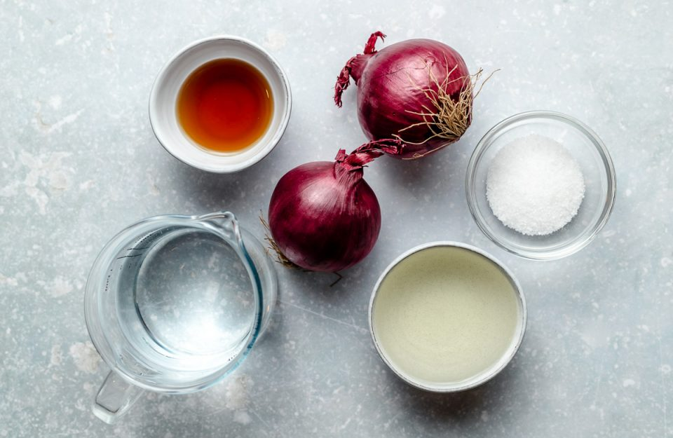 Quick pickled red onion ingredients arranged on a light blue surface in individual bowls & dishes: two red onions, maple syrup, rice vinegar, warm water, and kosher salt.