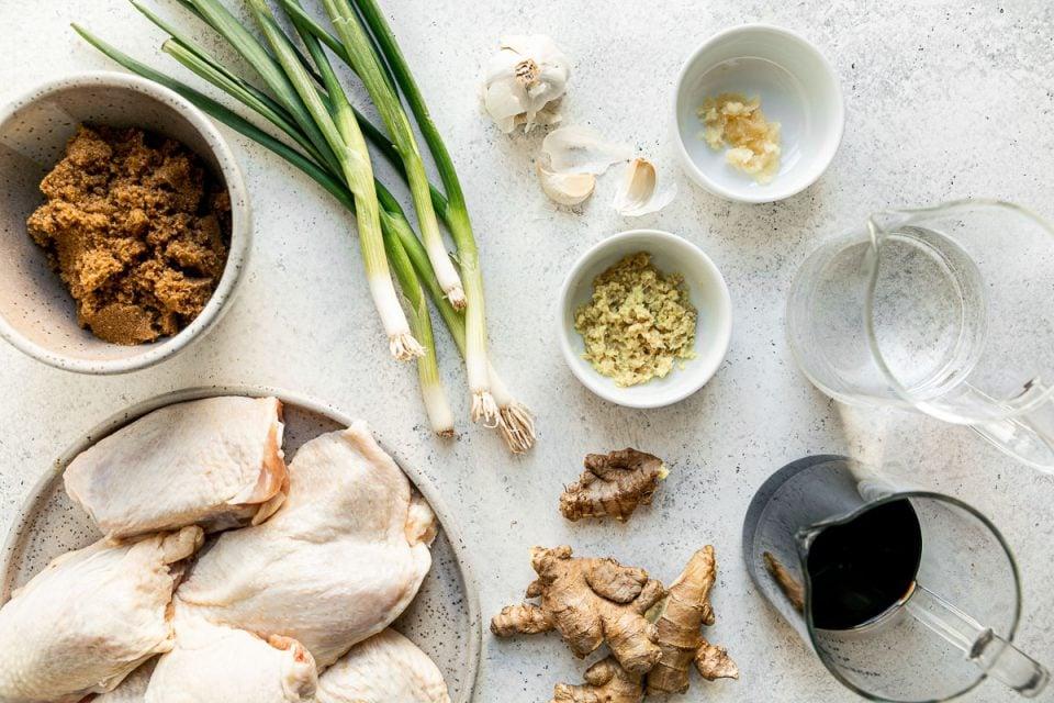 Shoyu chicken ingredients on a white surface: brown sugar, green onions, ginger, garlic, water, shoyu, & bone-in, skin-on chicken thighs.