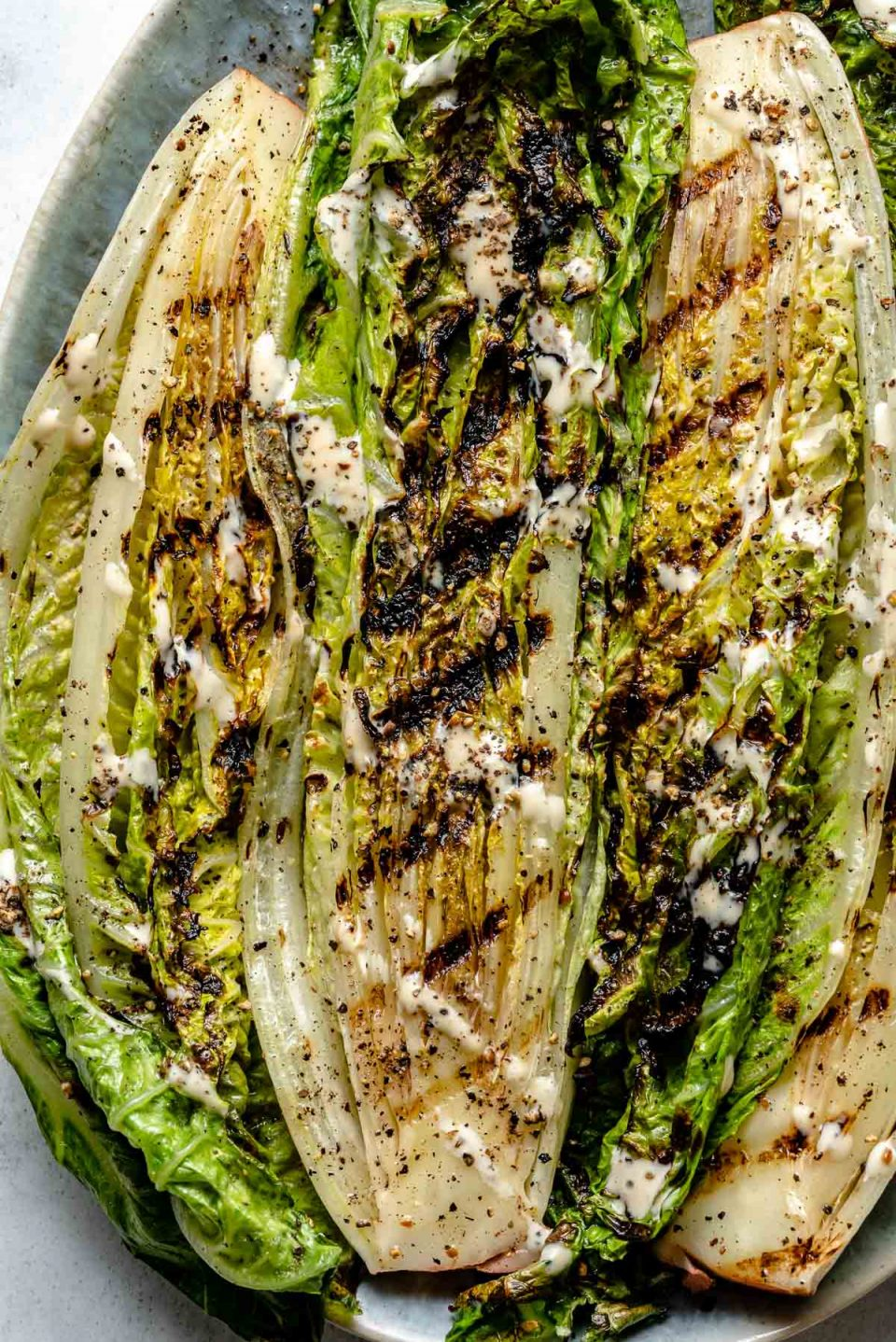 Close up of grilled lettuce with char marks. Garnished with ground black pepper & a light drizzle of sauce.