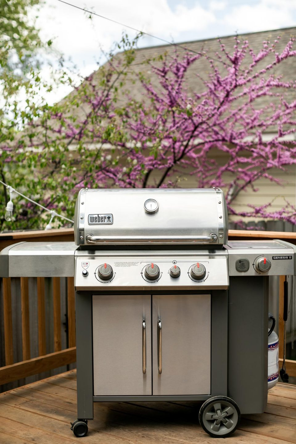 Weber Genesis II gas grill shown on deck. In the background, a blossoming tree and a house with beige siding.