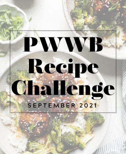 Soy-Glazed Ginger Turkey Meatballs with graphic text overlay 'PWWB Recipe Challenge September 2021'